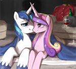 Shining Amor and Cadance under a blanket