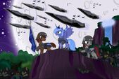 Princess Luna command a large amout of armed ponies
