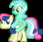 Lyra riding on Bon Bon