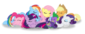 Spike and the 6 ponies sleeping together