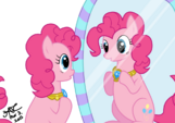 Pinkie Pie looking at the mirror