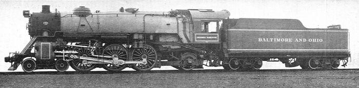 Pacific locomotive, President Washington, B&O RR (CJ Allen, Steel Highway, 1928)