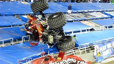 Monster Truck flips into stands
