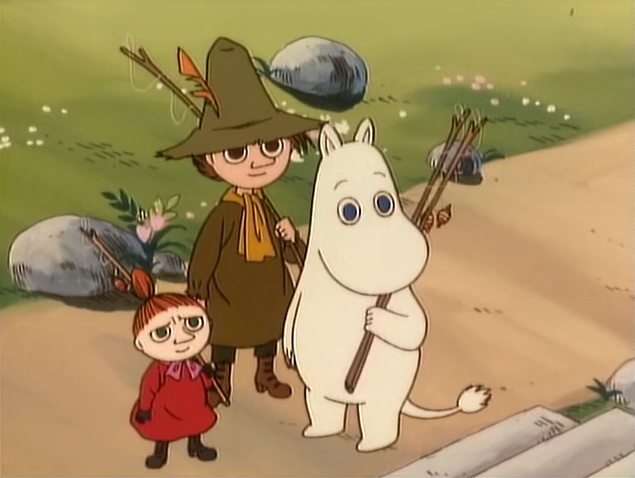 File:Moomintroll with Little My and Snufkin.png