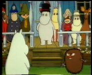 Moomins with their friends and enemies
