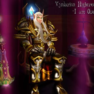 Vynlarion donned in his former ceremonial armour in the Hall of Blood (courtesy of Siavel).