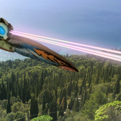 Rainbow Mothra firing his Cross Heat Laser Beams