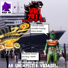 Issue 166, the first issue of the 'Seafaring Saga' trilogy. Unaware of what happened to Deathrock9, Koopa opens his cereal to find a whole ship inside the box! Eager to use it, he invites MosuFan2004 to join him on the ship's maiden voyage, a short trip between Southampton and Sicily.
