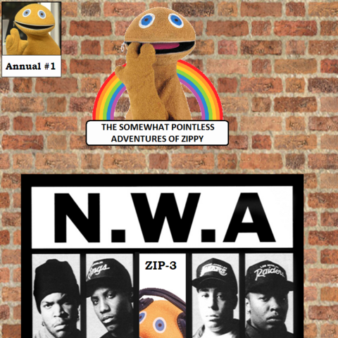 In the first Annual special Zippy launches a rap career with N.W.A. after the loss of Eric