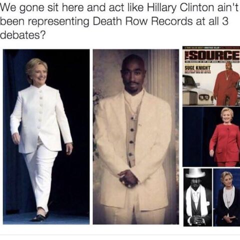 File:Wtf hillary you weird scummy piece of human garbage what the actual hell is wrong with you why the hell are you dressing like this it isnt even funny its just screwed up.jpg