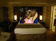 Belle and Beast finally go to sleep at the Disneyland Hotel Room and they all lived happily ever after