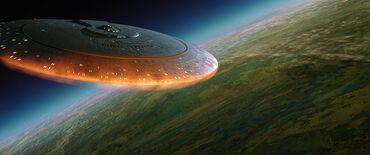 USS Enterprise-D falls toward Veridian III