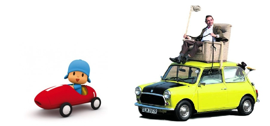 Image Coche Pocoyo Racing Car Vs Mr Bean Austin Mini