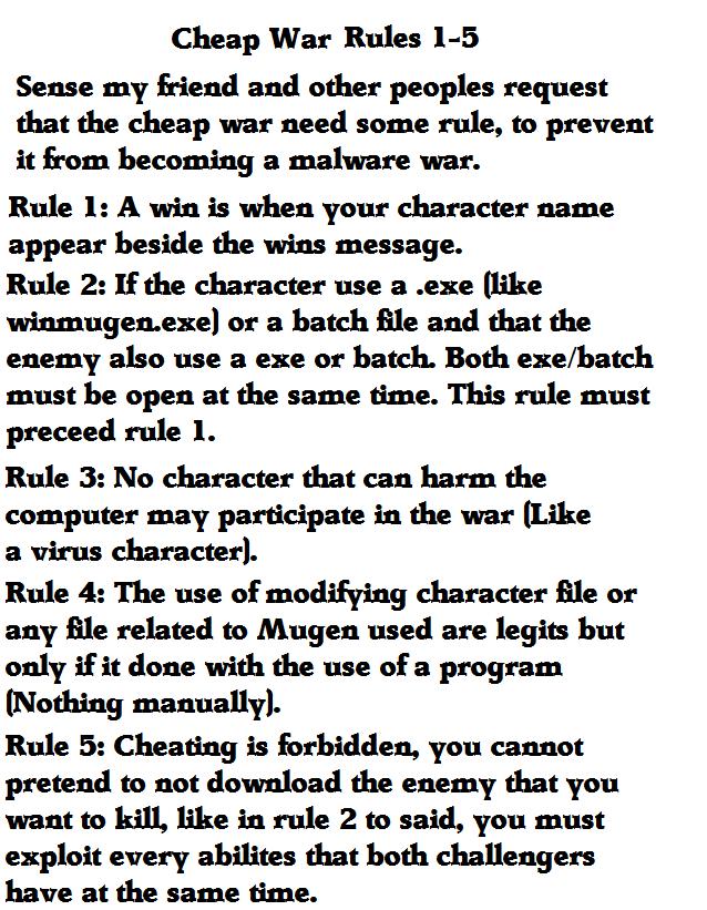 Mugen cheap war rules by utsuhofanboy24000-d79bpq1