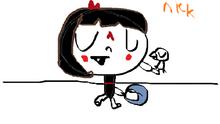 Bebe playing a tamborine