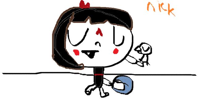 File:Bebe playing a tamborine.png