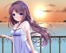 Sunset dress blue eyes long hair purple hair blush anime purple eyes anime girls artist 1200x960 wallpaperswa.com 33