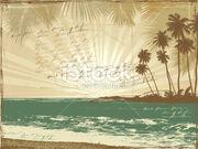 Stock-illustration-20604169-vintage-postcard-palms-sea-doodle-poetry