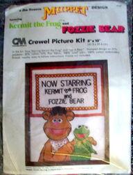Caron 1980 fozzie kermit crewel picture kit 1
