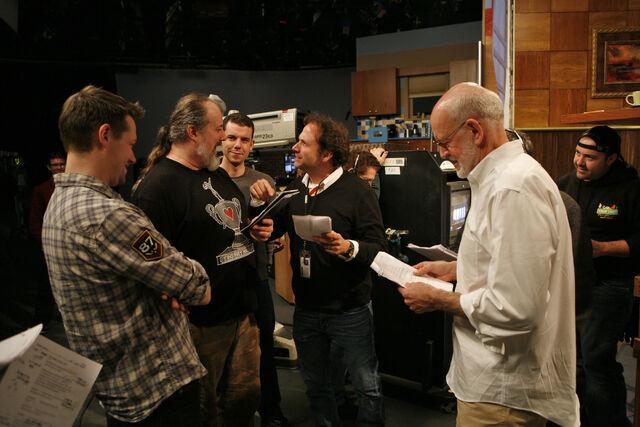 File:Matt Vogel, Tyler Bunch, Paul McGinnis, Joey Mazzarino, Frank Oz, and John Kennedy on Mad Men Sesame Street Set.jpg