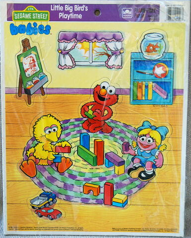 File:Golden 1991 sesame babies frame-tray puzzle little big bird's playtime.jpg