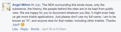 Angel reply about nda and first initials april 28