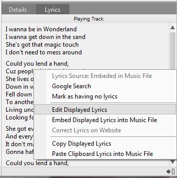 Edit Displayed Lyrics