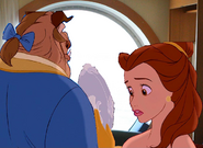 Belle discoved the Magic Mirror with the Beast at the Disney Cruise Line