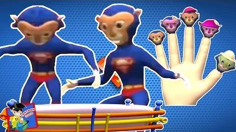 Superman Finger Family Super Man Dancing on Five Little Monkeys Cartoon Rhymes