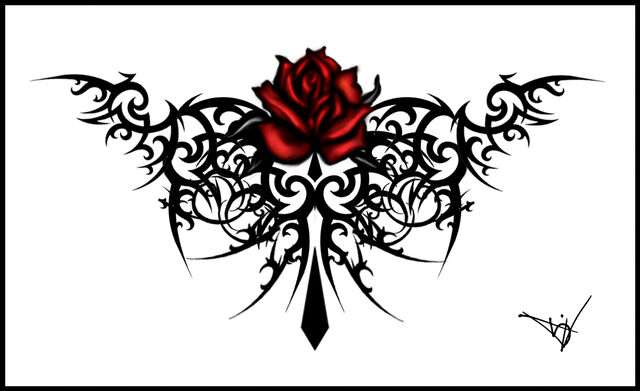 File:Gothic Maroon Rose Tattoo by Quicksilverfury.jpg