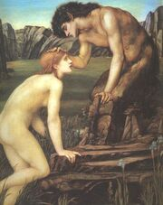 474px-Edward Burne-Jones Pan and Psyche