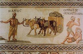 Paphos Mosaïque d'Icarios Transport de vin en outres IIIe s