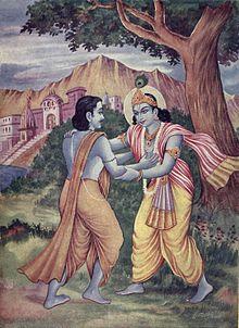File:Arjuna meets Krishna at Prabhasakshetra.jpg