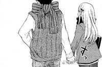 Urara and Ryu hold hands