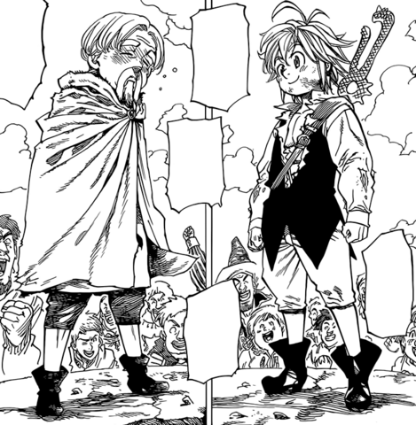 File:Meliodas and Cain preparing for their Byzel Fight Festival battle.png