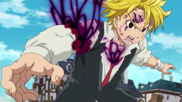 File:Meliodas reattaching his arm and healing his wound.png