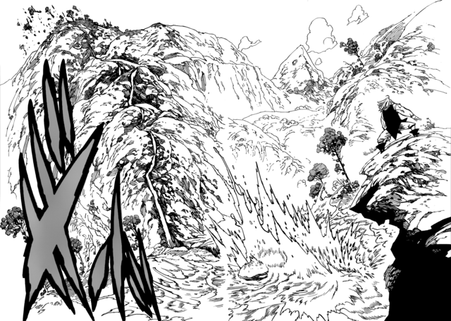 File:Meliodas slicing a mountain with just a stick.png