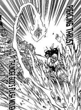 Zaratras using Raijin no Sendo to evade Fraudrin's attack
