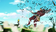 Meliodas repelling Twigo's attack back at him