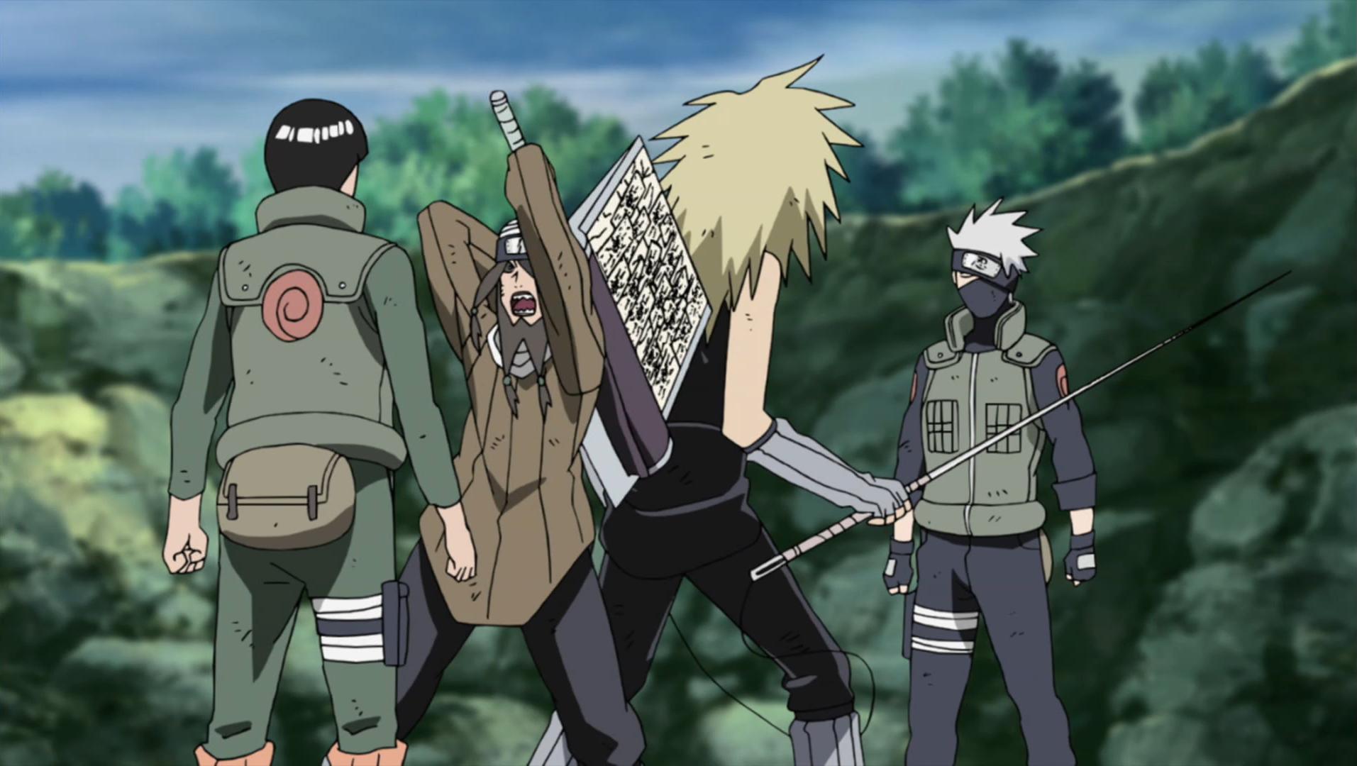 image guy and kakashi vs swordsmenpng narutopedia