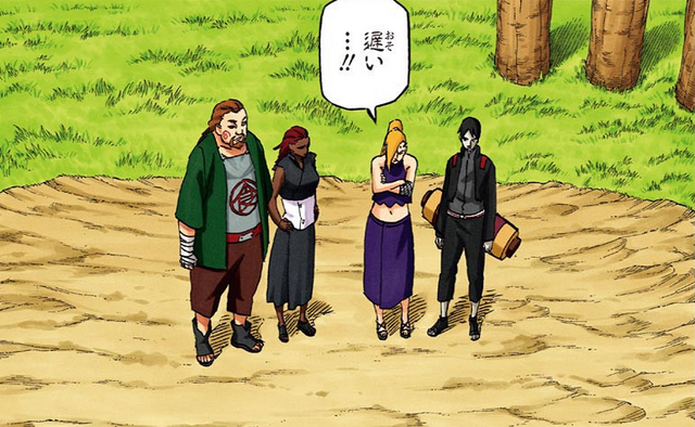 File:Choji, Ino Sai and Karui waiting their sons.png