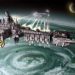 A Signarian Flagship shown here commencing orbital bombardment and engaging an enemy warship.
