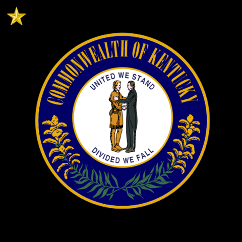 thumb|The flag of Kentucky, similar to the present-day flag but with a black background and stars representing the claimed star systems of Kentucky.