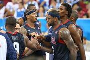 Beijing Olympics Men's Semifinal Basketball USA huddle