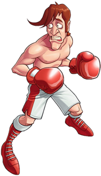 Drawing of a skinny shirtless man with red hair, red boxing gloves, and white-and-red shorts and shoes. He is looking to the left and appears worried.