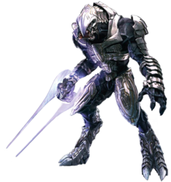 An alien warrior in a hunched position. Its feet end with two prominent claws, while its mouth is split into four parts lined with teeth. The alien is covered in shiny metal plates that overlap. In his hand he carries a glowing dual-tipped blade.