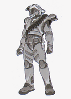Early concept sketch done in pencil of a thin character, replete with bandoliers and other additional equipment in addition to his armor.