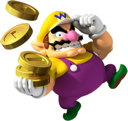 An overweight character, wearing a yellow hat with a blue W, purple overalls with a yellow shirt underneath, green shoes and white gloves. He has pointy ears, a pink nose, thick eyebrows, and a wavy moustache, and has an evil grin. Three large golden coins are seen on his hand, with two others in the air above.
