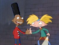 Arnold and Gerald handshake