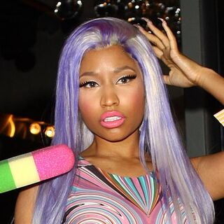All Nicki's wigs are real hair, so that means they're either black, blonde, or blonde with color sprayed on. Uneven spray can be kind of fun sometimes, but this looks like trash!